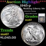***Auction Highlight*** 1945-p Walking Liberty Half Dollar 50c Graded ms67 By SEGS (fc)