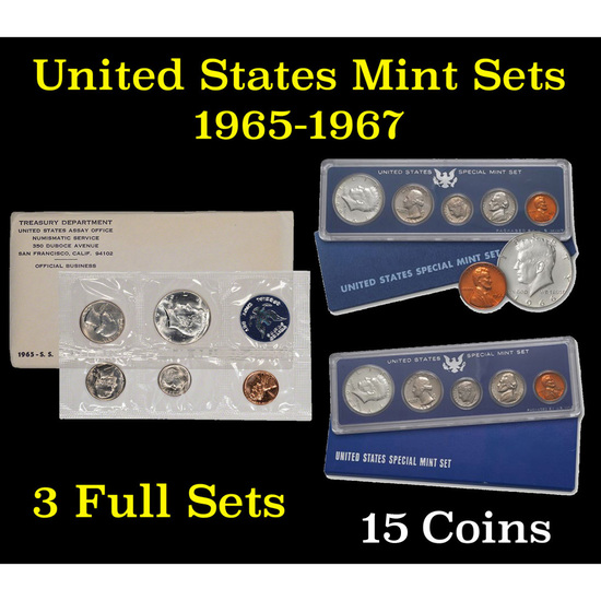 Group of 3 Special Mint Sets 1965-1967 15 coins