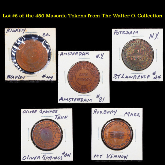Lot #6 of the 450 Masonic Tokens from The Walter O. Collection