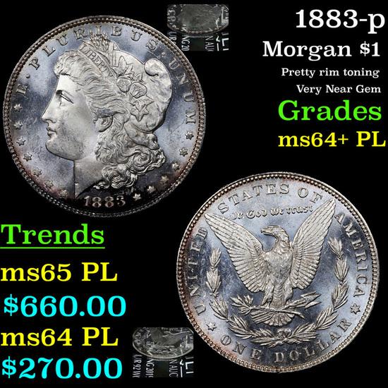 1883-p Morgan Dollar $1 Grades Choice Unc+ PL