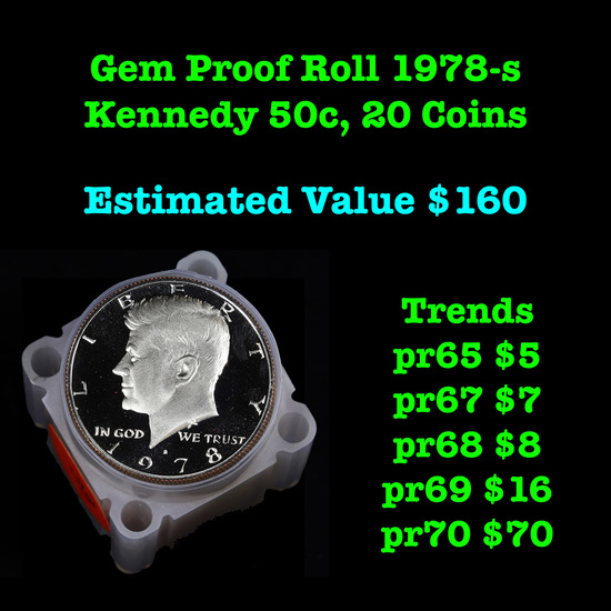 Gem Proof Roll 1978-s Kennedy 50c , 20 Coins Kennedy Half Dollar 50c