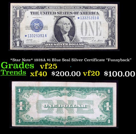 "*Star Note* 1928A $1 Blue Seal Silver Certificate ""Funnyback"" Grades vf+"
