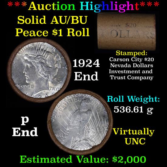 ***Auction Highlight*** AU/BU Slider Shotgun Nevada Invest & Trust Co Peace $1 Roll 1924 & P Ends Vi