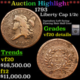 ***Auction Highlight*** 1793 Liberty Cap half cent 1/2c Graded vf20 details By SEGS (fc)