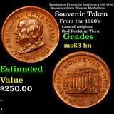 Benjamin Franklin Institute 1706-1790 Souvenir Coin Bronze Medallion Grades Select Unc BN