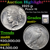 ***Auction Highlight*** 1921-p Peace Dollar $1 Graded ms65+ By SEGS (fc)