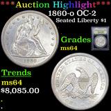 ***Auction Highlight*** 1860-o OC-2 Seated Liberty Dollar $1 Graded Choice Unc By USCG (fc)