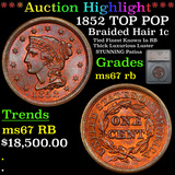 ***Auction Highlight*** 1852 TOP POP Braided Hair Large Cent 1c Graded ms67 rb By SEGS (fc)