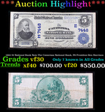 ***Auction Highlight*** 1902 $5 National Bank Note The Catawissa National Bank, PA President Ben Har