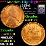 ***Auction Highlight*** 1915-d Lincoln Cent 1c Graded Choice+ Unc RB By USCG (fc)