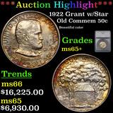 ***Auction Highlight*** 1922 Grant w/Star Old Commem Half Dollar 50c Graded ms65+ By SEGS (fc)
