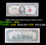 1966 $100 Red Seal United States Note Grades vf+