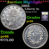 Proof ***Auction Highlight*** 1905 Liberty Nickel 5c Graded GEM+ Proof By USCG (fc)