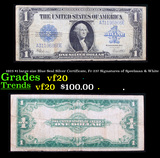 1923 $1 large size Blue Seal Silver Certificate, Fr-237 Signatures of Speelman & White Grades vf, ve
