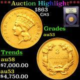***Auction Highlight*** 1863 Three Dollar Gold 3 By UISCG (fc)