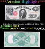 ***Auction Highlight*** 1917 $1 Legal Tender, Signatures of Elliott & White, FR-38 Grades Choice CU