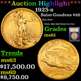 ***Auction Highlight*** 1925-s St. Gaudens $20 Gold Graded BU+ By USCG (fc)