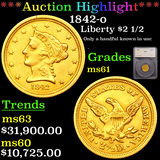 ***Auction Highlight*** 1842-o Gold Liberty Quarter Eagle 2.5 Graded ms61 By SEGS (fc)
