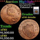 ***Auction Highlight*** 1786 NJ Straight Plow Beam Maris 14-J  Colonial Cent 1c Graded xf45 details