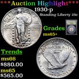 ***Auction Highlight*** 1930-p Standing Liberty Quarter 25c Graded GEM+ Unc By USCG (fc)