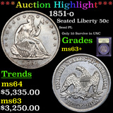 ***Auction Highlight*** 1851-o Seated Half Dollar 50c Graded Select+ Unc By USCG (fc)