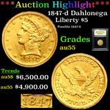 ***Auction Highlight*** 1847-d Breen-6191 Gold Liberty Half Eagle $5 Graded Choice AU By USCG (fc)