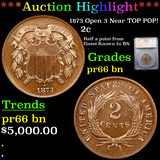 Proof ***Auction Highlight*** 1873 Open 3 Near TOP POP! Two Cent Piece 2c Graded pr66 bn By SEGS (fc