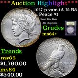 ***Auction Highlight*** 1927-p vam 1A I2 R5 Peace Dollar $1 Graded Choice+ Unc By USCG (fc)