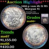 ***Auction Highlight*** 1886-p vam 6b I2 R5 Morgan Dollar $1 Graded ms66+ By SEGS (fc)