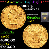 ***Auction Highlight*** 1882-p Gold Liberty Half Eagle 5 Graded Select Unc By USCG (fc)