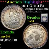***Auction Highlight*** 1811 O-110 R1 Capped Bust Half Dollar 50c Graded Choice Unc By USCG (fc)