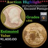***Auction Highlight*** Ultra Rare 1862 Gault's Encased Postage EP-40 w/ Silvering 3c Burnett's Extr
