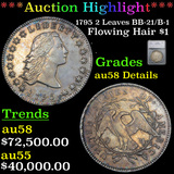 ***Auction Highlight*** 1795 2 Leaves BB-21/B-1 Flowing Hair Dollar $1 Graded au58 Details By SEGS (