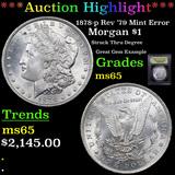 ***Auction Highlight*** 1878-p Rev '79 Mint Error Morgan Dollar $1 Graded GEM Unc By USCG (fc)
