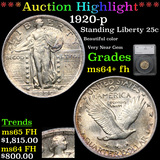 ***Auction Highlight*** 1920-p Standing Liberty Quarter 25c Graded ms64+ fh By SEGS (fc)