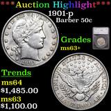 ***Auction Highlight*** 1901-p Barber Half Dollars 50c Graded ms63+ By SEGS (fc)
