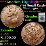 ***Auction Highlight*** 1791 Small Eagle Washington cent 1c Graded au55 By SEGS (fc)