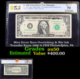 PCGS Mint Error Rare Overinking & Wet Ink Transfer Error 1988 $1 FRN Philadelphia, PA Graded au50 By
