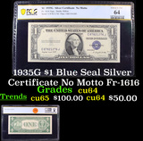 PCGS 1935G $1 Blue Seal Silver Certificate No Motto Fr-1616 Graded cu64 By PCGS