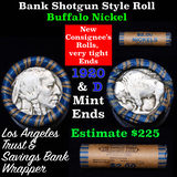 Buffalo Nickel Shotgun Roll in Old Bank Style 'Los Angeles Trust And Savings Bank'  Wrapper 1920 & d