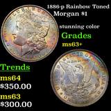 1886-p Rainbow Toned Morgan Dollar $1 Grades Select+ Unc