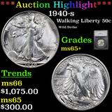 ***Auction Highlight*** 1940-s Walking Liberty Half Dollar 50c Graded ms65+ By SEGS (fc)