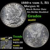 1889-s vam 5, R5 Morgan Dollar 1 Grades Select Unc