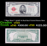 **Star Note** 1928F $5 Red Seal United States Note Grades vf+