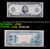 1914 $5 Large Size Blue Seal Federal Reserve Note, St.Louis, MI 8-H Grades vf, very fine
