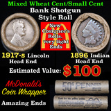 Mixed small cents 1c orig shotgun roll, 1917-s Wheat Cent, 1896 Indian Cent other end, McDonalds Wra