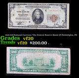 1929 $20 National Currency 'The Federal Reserve Bank Of Philidelphia, PA' Grades vf, very fine