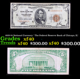 1929 $5 National Currency ' The Federal Reserve Bank of Chicago, IL' Grades xf