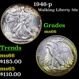 1946-p Walking Liberty Half Dollar 50c Grades GEM+ Unc
