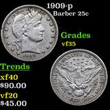 1909-p Barber Quarter 25c Grades vf++